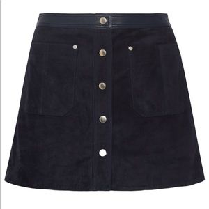 Rag and Bone Suede and Leather Miniskirt